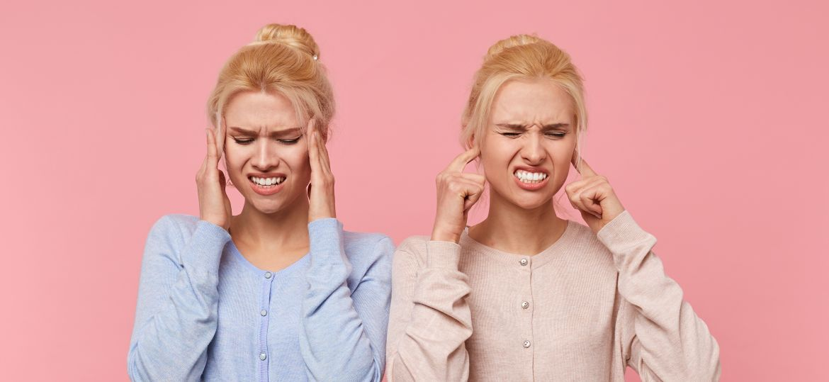Beautiful young blonde twins experience discomfort, pain in temp
